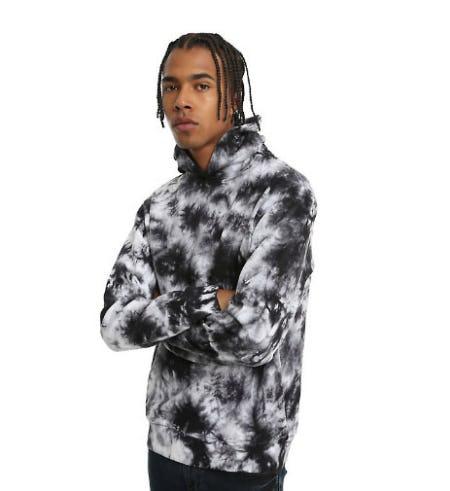 Black & White Tie Dye Pullover Hoodie
