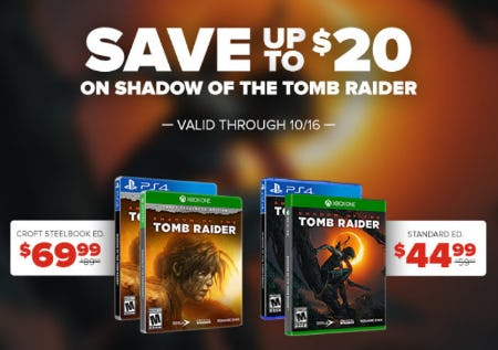 Save Up to $20 Shadow Of The Tomb Raider