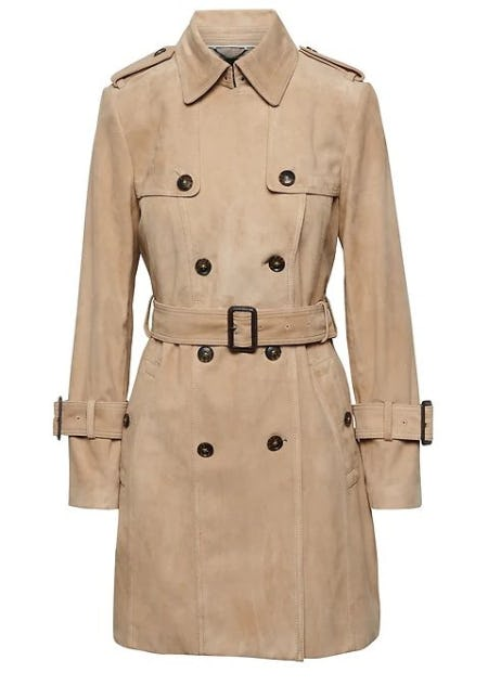 Suede Classic Trench Coat from Banana Republic