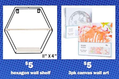 $5 Hexagon Wall Shelf and $5 3-Pack Canvas Wall Art from Five Below
