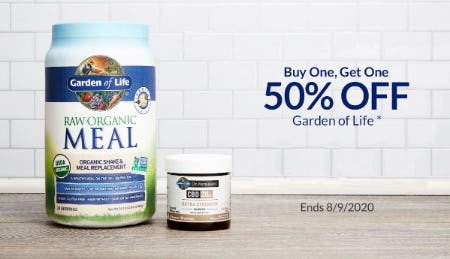 BOGO 50% Off Garden of Life from The Vitamin Shoppe