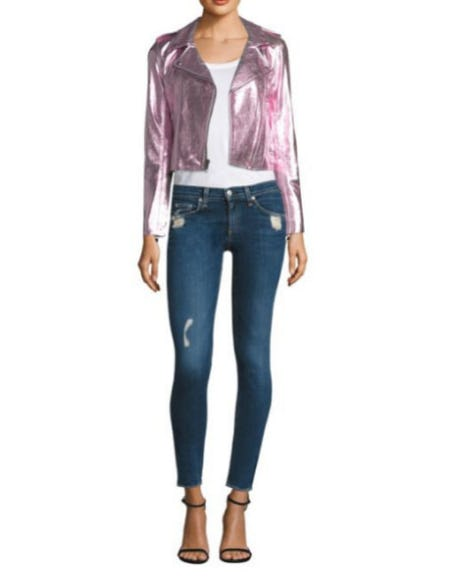The Mighty Company Metallic Leather Jacket from Saks Fifth Avenue