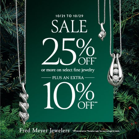 October Extra Saving Sale from Fred Meyer Jewelers