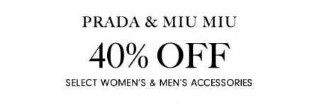 40% Off Prada & Miu Miu from Neiman Marcus