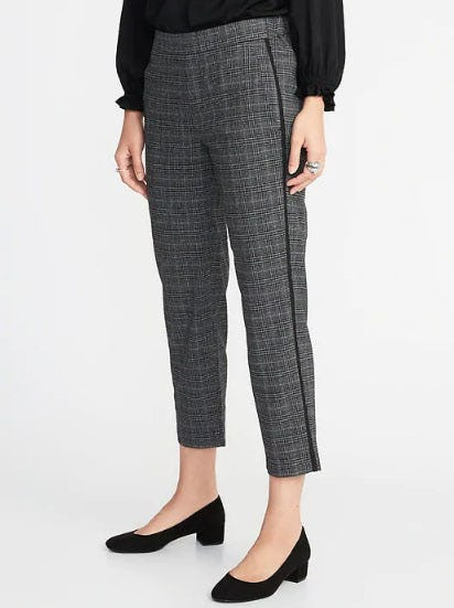 Mid-Rise Plaid Side-Stripe Pull-On Trousers from Old Navy