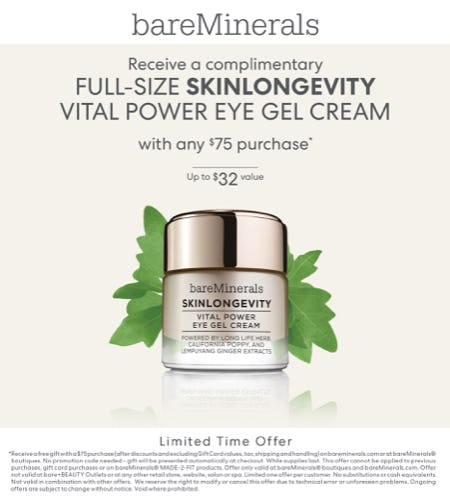 Skinlongevity Eye Cream with a $75 Purchase from bareMinerals