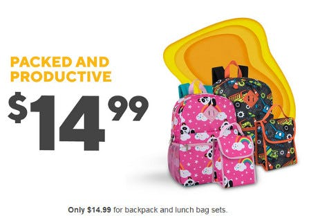 Only $14.99 for Backpack and Lunch Bag Sets