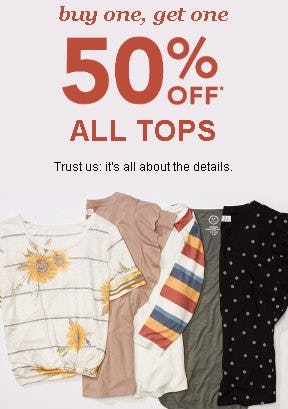 Buy One, Get One 50% Off All Tops from maurices