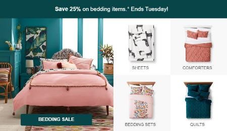 Save 25% on Bedding Items from Target