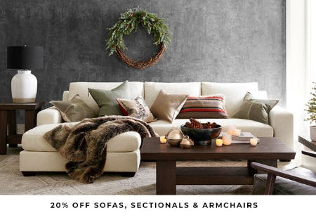 20% Off Sofas, Sectionals & Armchairs from Pottery Barn
