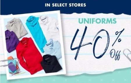 40% Off Uniforms