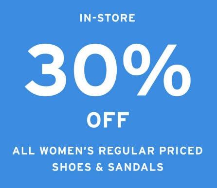 30% Off Women's Shoes & Sandals