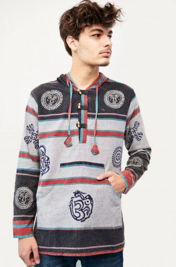 Block Print Striped Hoodie from Earthbound Trading Company