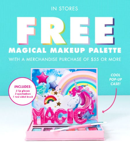 Free Magical Makeup Palette with Purchase from Justice