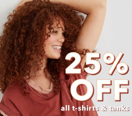 25% Off All T-Shirts & Tanks from Aerie