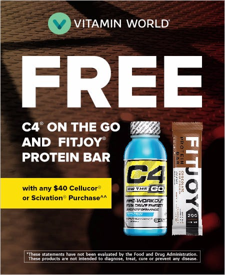 FREE C4 and Protein Bar with any $40 Cellucor or Scivation Purchase