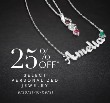 25% Off Select Personalized Jewelry from Jared Galleria of Jewelry