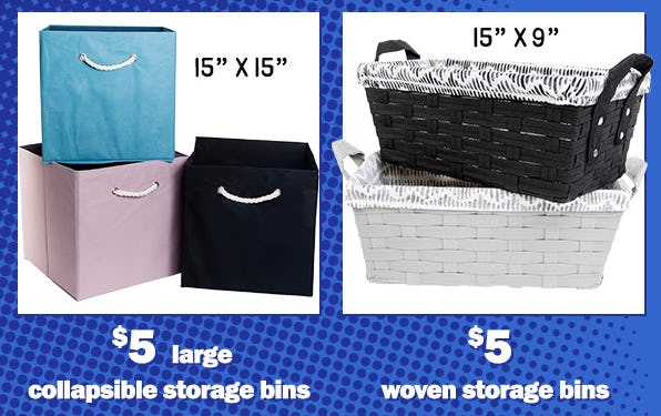 $5 Large Collapsible Storage Bins & $5 Woven Storage Bins from Five Below