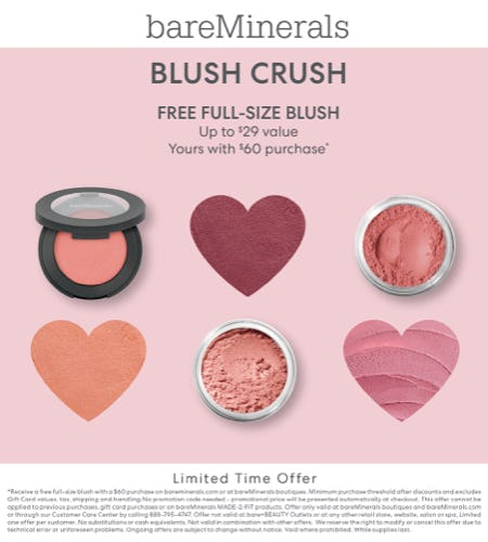 Choice of Full-Size Blush with $60 Purchase from bareMinerals