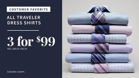 3 for $99 All Traveler Dress Shirts from Jos. A. Bank