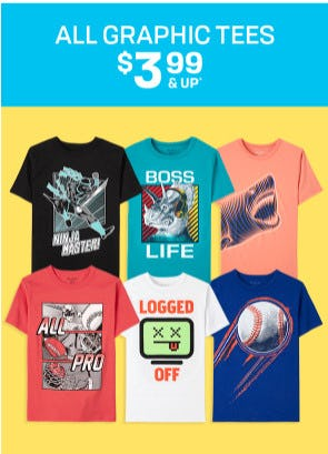 All Graphic Tees $3.99 & Up from The Children's Place