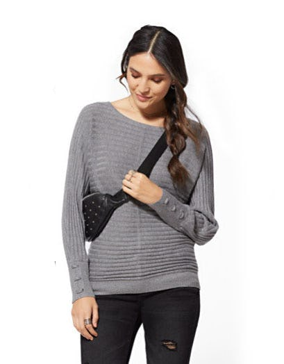 Lace-Up Cuff Dolman Sweater