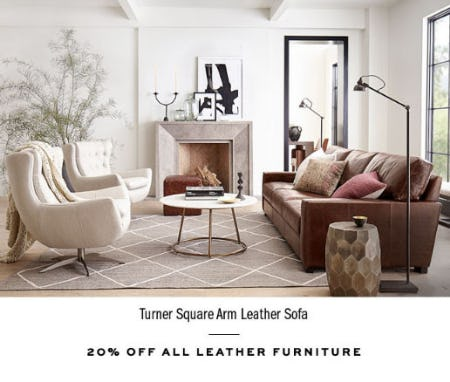 20% Off All Leather Furniture from Pottery Barn