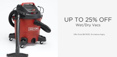Up to 25% Off Wet/Dry Vacs from Sears