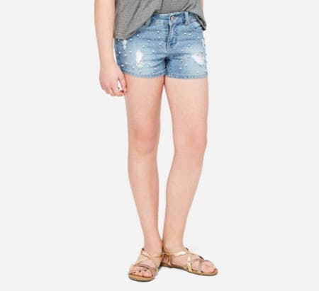 Destructed Pearl Denim Short Shorts