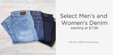 Select Men's & Women's Denim Starting at $7.99