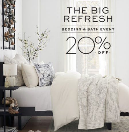 20% Off Bedding & Bath Event from Pottery Barn