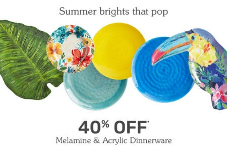 40% Off Melamine & Acrylic Dinnerware from Pier 1 Imports
