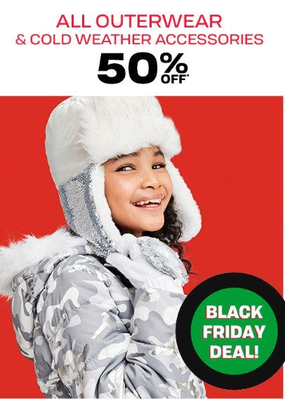 All Outerwear and Cold Weather Accessories 50% Off from The Children's Place