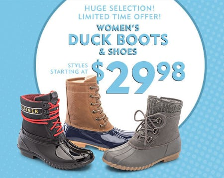 Women's Duck Boots & Shoes Styles Starting at $29.98 from Shoe Carnival