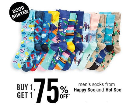 B1G1 75% Off Men's Socks From Happy Sox and Hot Sox from Belk