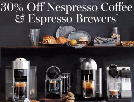 30% Off Nespresso Coffee & Espresso Brewers