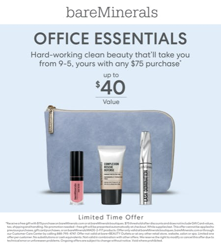 3 Piece Gift in a bag with a $75 purchase from bareMinerals