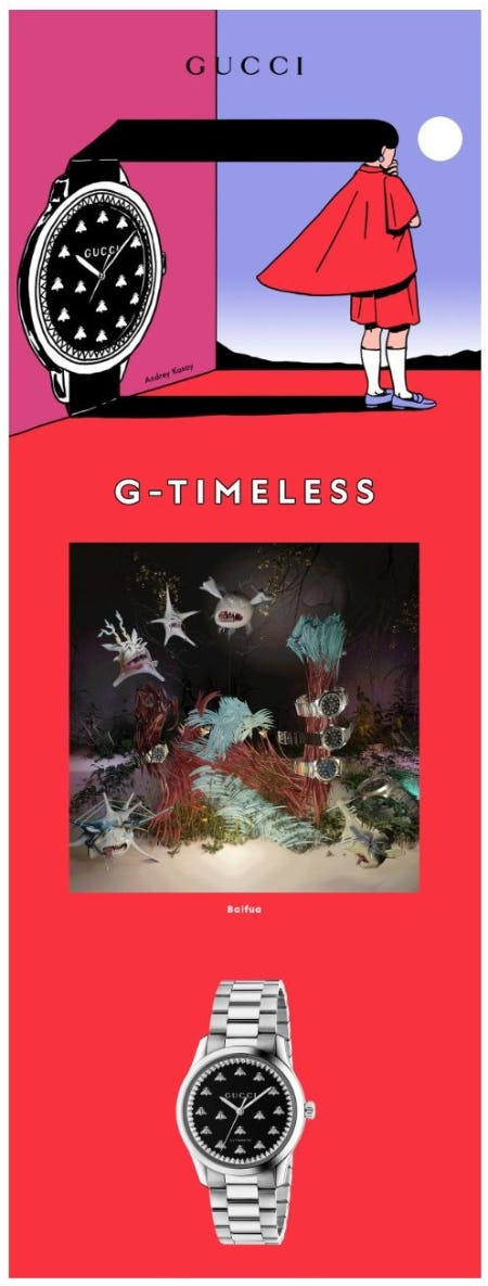 Interpreting Gucci Time: Original Artworks Featuring the G-Timeless from Gucci