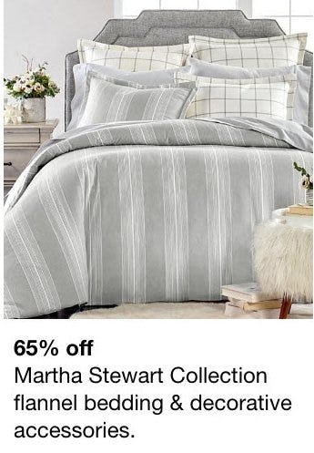 65% Off Martha Stewart Collection Flannel Bedding & Decorative Accessories