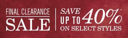 Final Clearance Sale up to 40% Off