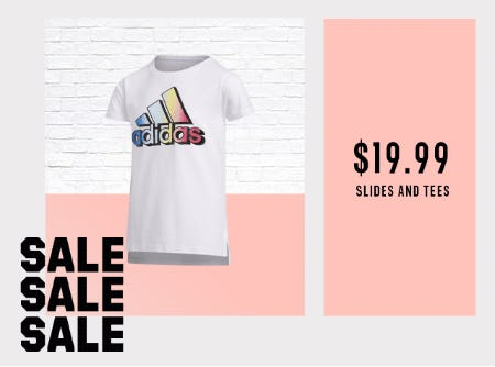 $19.99 slides & tees for the whole family from Adidas