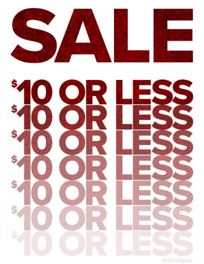 $10 or Less Sale from Rainbow