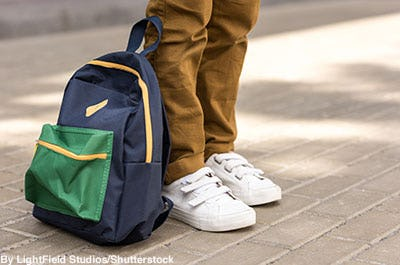 Blue, green, and yellow color blocked '90s style backpack.