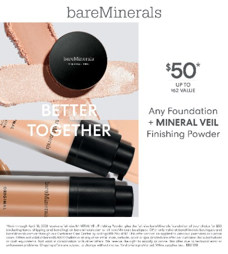 Foundation & Mineral Veil Bundle for $50 from bareMinerals
