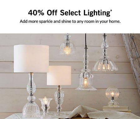 40% Off Select Lighting