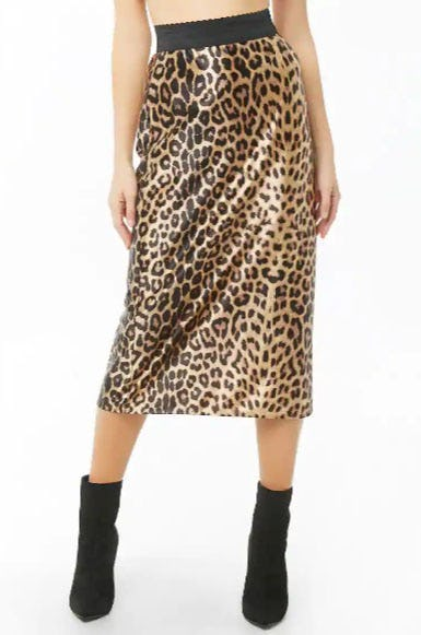 Satin Leopard Print Midi Skirt from Forever 21
