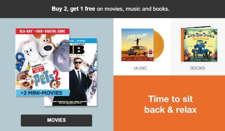 B2G1 Free on Movies, Music and Books from Target
