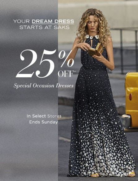 25% Off Special Occasion Dresses from Saks Fifth Avenue