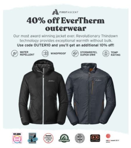 40% Off EverTherm Outerwear from Eddie Bauer