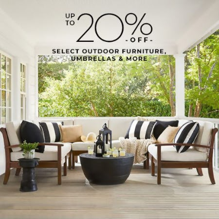 Up to 20% Off Select Outdoor Furniture, Umbrellas & More from Pottery Barn